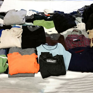 Mens-Large-Clothes-Huge-Lot-48-Piece-Mixed-Clothing-Shirts-Sweaters-Tees-Jackets
