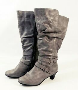 grey slouch wide calf knee high boots with small block
