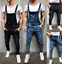 Men-Distressed-Denim-Overalls-Suspender-Trousers-Bib-Pants-Skinny-Jean-Jumpsuits thumbnail 1