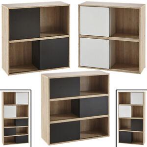 Details zu REGAL SLIDE Schiebetür kombinierbar Bücherregal Büroregal  schwarz weiß Holz Set