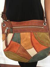Fossil Genuine Leather Messenger Crossbody Bag Patchwork Designer Fashion Hip