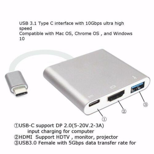 USB-C TYPE-C to HDMI VGA USB 3.0 Charging Hub Adapter For ASUS ZenBook Pro 3 AU