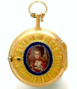 ANTIQUE 18K GOLD ENAMEL VERGE LEPINE KEYWIND POCKET WATCH CA1745