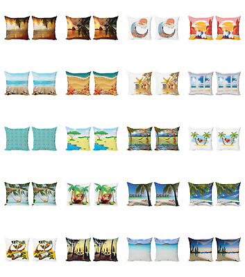 Ambesonne Colorful Element Cushion Cover Set of 2 for Couch and Bed in 4 Sizes