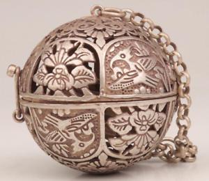 Antique Home Tibetan Silver  Spherical Incense Burner Hollow Flower Shape