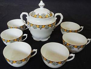 A-039-Sucrier-tasses-en-Porcelaine-de-Limoges-034-MG-034-MAVALEIX-et-GRANGER-decorateur