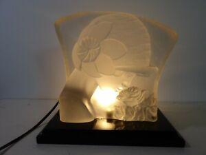 Lalique Style Sur Moulé Esven Lampe Deco Verre De Pressé Dlg Art Veilleuse Détails Ancienne vn0wONm8