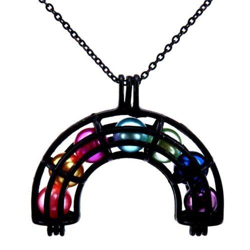 H408 36 mm Noir Arc-en-cage Collier-Ajouter Plastique Perles Arc-en-Tour de cou
