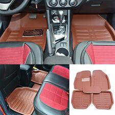5pc Universal All Weather Car Floor Mats FloorLiner Front&Rear Carpet Auto Brown