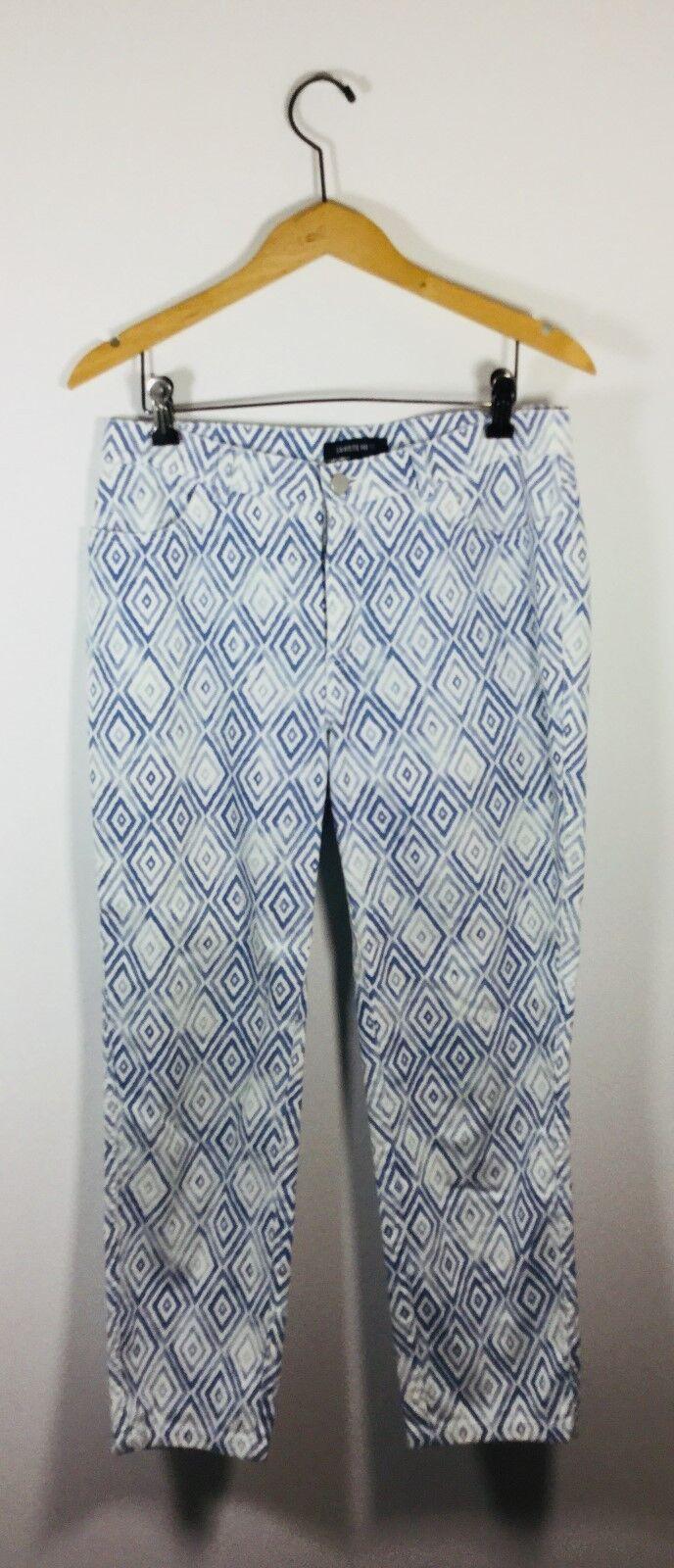 LAFAYETTE 148 bluee Geometric Print Crop Straight Leg Pant Size 6