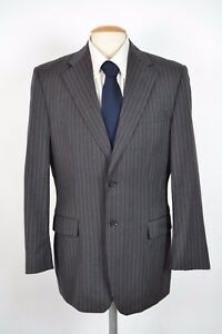 dd9084702cb EXPRESS MENS 100% WOOL GRAY PINSTRIPE 2 BUTTON BLAZER SPORT COAT 40R ...