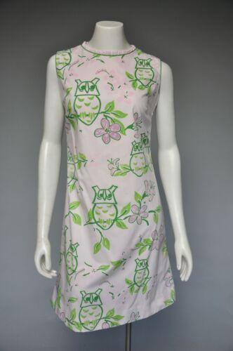 VTG 60s 1960s VESTED GENTRESS Owl Shift Dress Slee