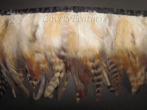 Coque feather fringe of natural chinchila colour 1 metre ribbon trim