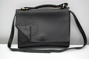 f2ce0076a Image is loading DELVAUX-RARE-Gorgeous-black-leather-shoulder-bag-purse-