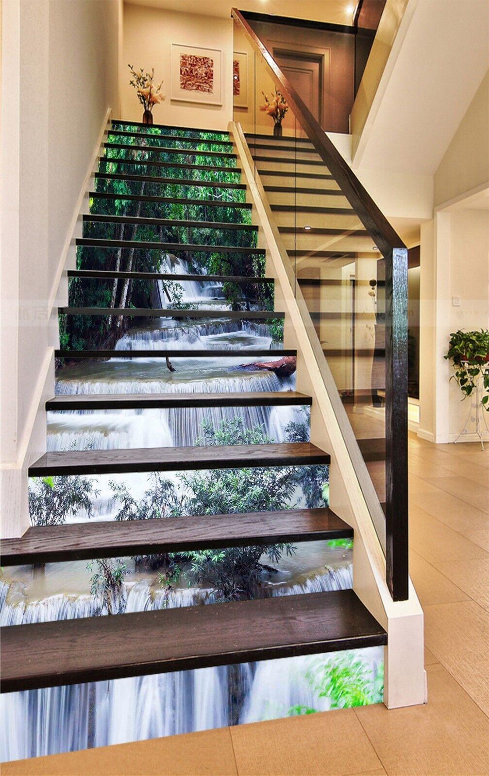 3D Arbre Vert Eau 523 contremarches Décoration Photo Murale Autocollant Vinyle Papier Peint US