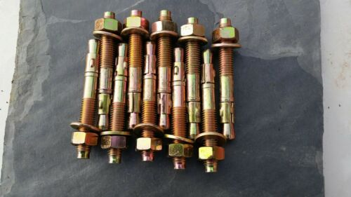 25 x CONCRETE ANCHOR THROUGH BOLTS M12 x 95mm yellow zinc THROUGHBOLT