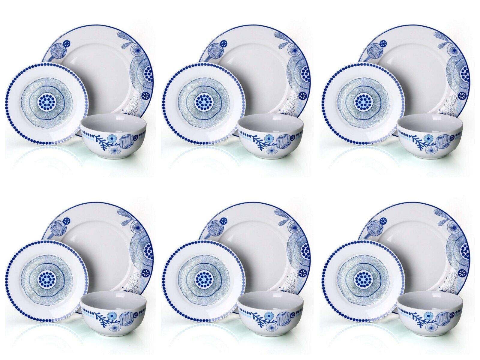 18Pc de porcelaine Set Stoneware Dinnerware complet Dinning Service Set Nouveau