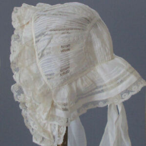 Antique Early 19thC Lady's MUSLIN Summer BONNET Ruffled LACE Embroidery PINTUCKS