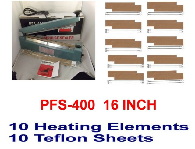 "16"" Hand Impulse Sealer  & 10 heating Elements 10 PTFI Sheets"
