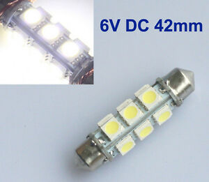 2x 6v led 12 smd soffitte 42mm wei xenon 6000k dc 6v volt. Black Bedroom Furniture Sets. Home Design Ideas