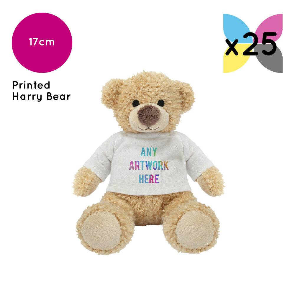 25 Personalised Harry Teddy Bears Promotional Logo Text Photo Printing Gift Bulk