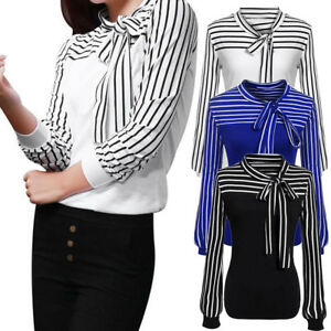 Women-Striped-Tie-Neck-Long-Sleeve-Blouse-Tops-Tee-Formal-Casual-Shirt-Suit-CA