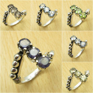 MANY-SIZES-MANY-STONE-925-Silver-Plated-IOLITE-amp-Other-Gem-Claw-Setting-RING