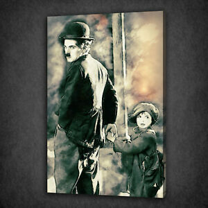 CHARLIE-CHAPLIN-THE-KID-VINTAGE-FILM-BOX-MOUNTED-CANVAS-PRINT-WALL-ART-PICTURE
