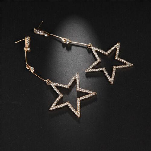 Star Stud Silver Rose Gold Plated Long Dangle Tassel Drop Crystal Earrings DP