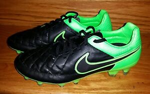 3d73b8609 Nike Tiempo Legacy FG Leather Soccer Cleats Men s US 6.5 Black Green ...
