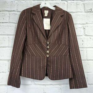 J-Jill-Brown-Pink-Wool-Blend-Long-Sleeve-Blazer-Jacket-Womens-Size-6