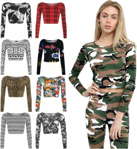 Womens Long Sleeve Army Checked Zebra Comic Printed Round Neck Crop Top