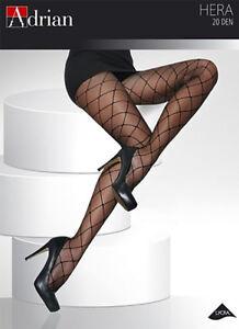 Plus-Size-20-Denier-Diamond-Patterned-Tights-Sheer-Black-Pantyhose-Adrian-Hera