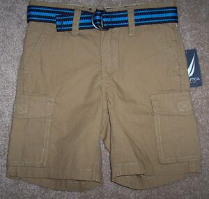 283c70795 NWT Nautica Boys $36 Light Brown CARGO Shorts/Blue Belt 5 GREAT | eBay
