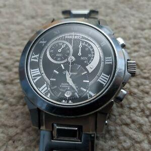 Seiko SNL041P1 Exclusive Silver Kinetic Premier Chronograph Mens Watch RRP £399