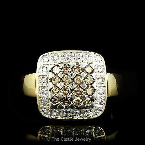 .50ctw Brown and White Round Brilliant Cut Diamond Cluster Ring Set in 14k gold