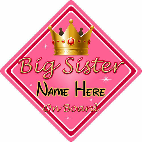 Personalised Child//Baby On Board Car Sign ~ Big Sister On Board ~ Pink /& Gold