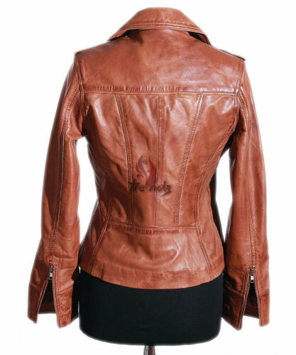 RACHEL Ladies Leather Jacket Tan Classic Fashion Real Leather Jacket