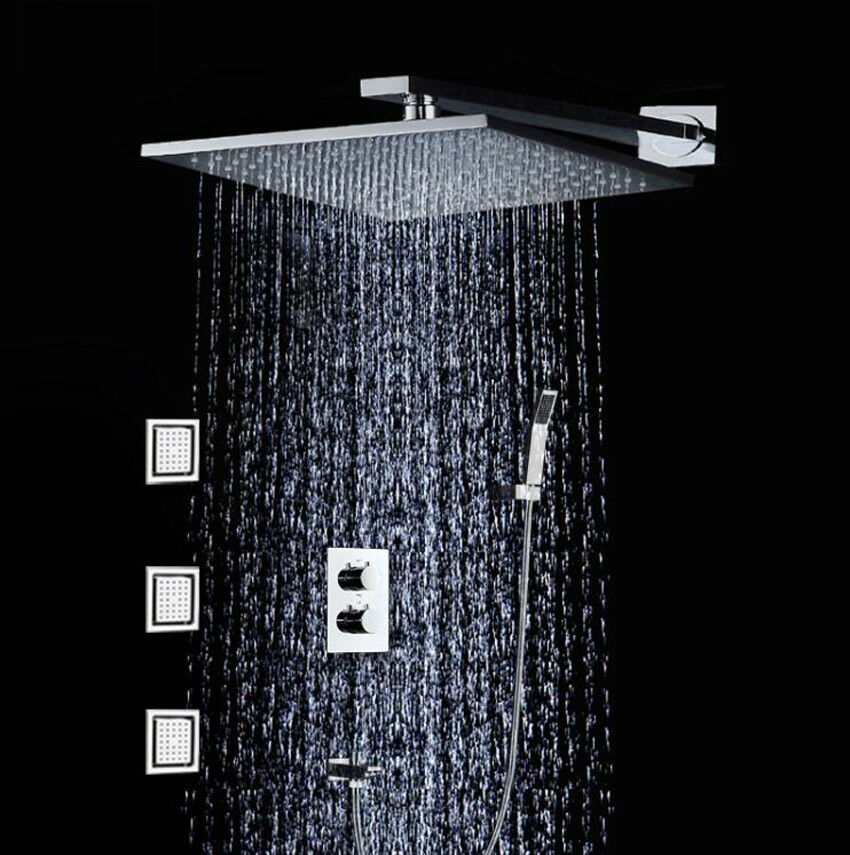 10  en laiton chromé carré pluie tête de douche avec douche à main, corps Jets Set