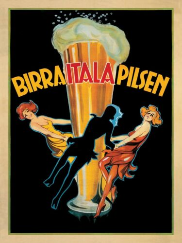 VINTAGE BEER POSTER Birra Itala Pilsen by Leonetto Cappiello Bar Art Print 53x38