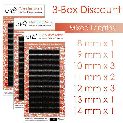 3-Box Set Mixed Length Real Mink Eyelash Extensions Individual Semi Permanent
