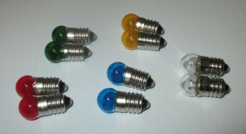 "Colour after Selection 10 X /""NEW/"" Replacement Lamps 11mm BALL-COLOUR E10-3,5V"