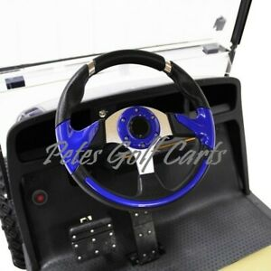 Details about Club Car Onward Blue Golf Cart Steering Wheel/Hub  Adapter/Chrome Cover Kit