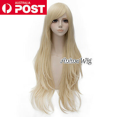 Fashion Light Blonde Long 80CM Wavy Lolita Lady Cosplay Wig Heat Resistant