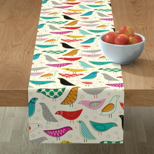 Table Runner Mod Rainbow Bird Baby Nursery Decor Modern Birds Cotton Sateen