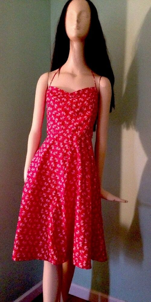VINTAGE BETSEY JOHNSON RED & WHITE COTTON ANCHOR NAUTICAL DRESS FIT FLARE S XS S