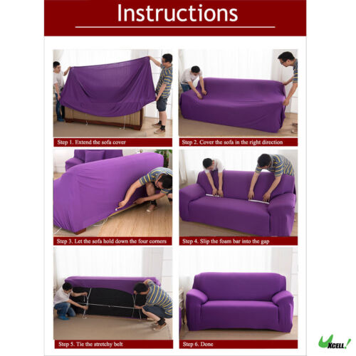 #12 1 2 3 4 Seater Elastic Stretch Sofa Cover Protector Couch Cover Slipcover US