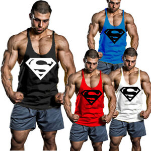 fd301b3347860 SUPERMAN Mens Y-Back T-Back Bodybuilding Stringer Tank Top Muscle ...