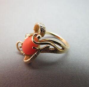 Vintage-14K-Yellow-Gold-Salmon-Coral-Ring-Size-5-5-Fancy-3D-Scrolls-5g-Estate