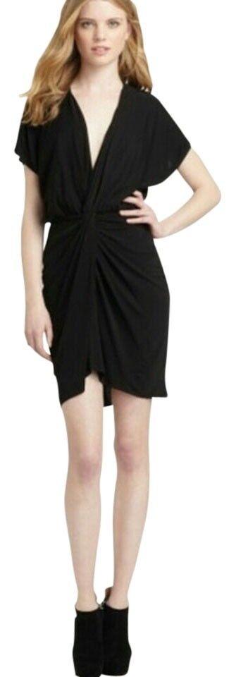 Hautie Hippie Twist schwarz Twist Front Sexy Mini Dress Größe XS